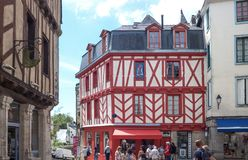Landscapes and architectures of Brittany. Vannes, France - August 7, 2017: View of the ancient Half-Timbered houses around the St Peter Cathedral Stock Images