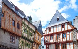 Landscapes and architectures of Brittany. Vannes, France - August 7, 2017: View of the ancient Half-Timbered houses around the St Peter Cathedral Stock Photo