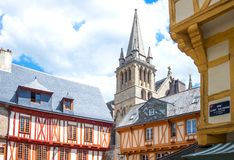 Landscapes and architectures of Brittany. Vannes, France - August 7, 2017: View of the ancient Half-Timbered houses around the St Peter Cathedral Stock Image