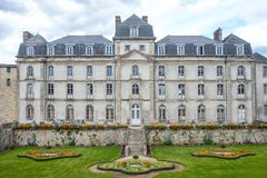 Landscapes and architectures of Brittany. Vannes, France - August 7, 2017: View of the facade of the L`Hermine castle Royalty Free Stock Photo