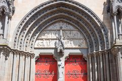 Landscapes and architectures of Brittany. Vannes, France, detail of the main portal of the St Peter cathedral Royalty Free Stock Photo
