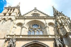 Landscapes and architectures of Brittany. Vannes, France, upward view of the facade of the St Peter cathedral Royalty Free Stock Image