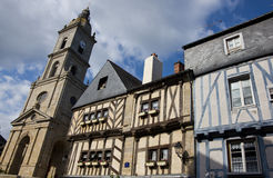Vannes - medieval town. Ancient half timbered houses, very well preserved, full of colors, that's the architecture of the charming medieval town of Vannes Royalty Free Stock Photo