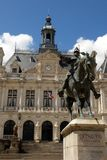 Statue of the knight Richemont in front of the city hall of Vannes royalty free stock images