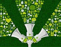 Vanno i media sociali verdi che introducono la priorità bassa sul mercato Immagini Stock Libere da Diritti