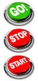 Vanno, l'arresto ed i pulsanti di avvio Immagini Stock Libere da Diritti