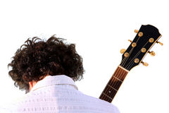 Vanno le gente - spalle del giocatore di chitarra Fotografie Stock Libere da Diritti