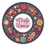 Vanoce di Vesele - cartoline d'auguri Natale in repubblica Ceca Fotografie Stock