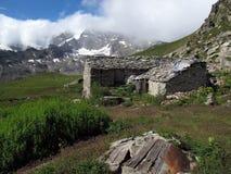 Vanoise; 在阿尔卑斯的小屋 免版税图库摄影