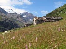 Vanoise; Alpe con la capanna Immagine Stock Libera da Diritti
