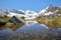 VANOISE, FRANCE: Evettes cirque above the hamlet L`Ecot. Evettes cirque above the hamlet L`Ecot, Northern Alps Stock Images