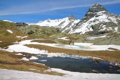 VANOISE, FRANCE - JUNE 20, 2016: Evettes refuge above the hamlet L`Ecot, Northern Alps Royalty Free Stock Photography