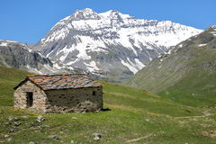 VANOISE, FRANCE: View of Grande Casse from St Barthelemy Chapel near the Plan du Lac refuge, Northern Alps Stock Images