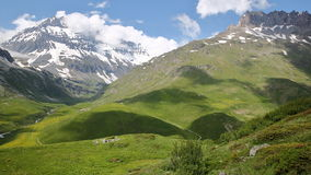 VANOISE, FRANCE : view of two summits Grande Casse on the left and Pierre Brune on the right, Northern Alps. View of two summits Grande Casse on the left and Royalty Free Stock Photography