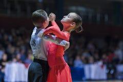 Vanov Nikita and Gurova Evgeniya perform Juvenile-1 Standard European program Royalty Free Stock Photography