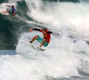 Vans Triple Crown of Surfing 2008. Nov. 13: Gavin Beschen performs an aerial maneuver during the Reef Hawaiian Pro at Haleiwa Beach which is part of the Vans Royalty Free Stock Images