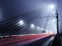Vansu Bridge lights in fog ,Riga Stock Image