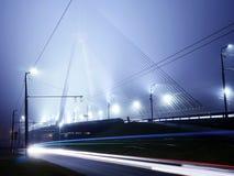 Vansu Bridge lights in fog ,Riga. Bridge lights in fog in Riga, Latvia Royalty Free Stock Photography