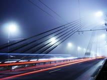 Vansu Bridge lights in fog ,Riga. Bridge lights in fog in Riga, Latvia Royalty Free Stock Images