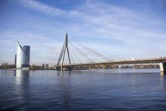 Vansu bridge over river Daugava Riga Latvia. Royalty Free Stock Photography