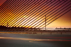 Vansu Bridge In Riga, Latvia. Shroud Bridge.  Cable-Stayed Bridg Royalty Free Stock Images