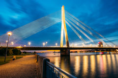 Vansu Bridge In Riga, Latvia. Shroud Bridge. Cable-Stayed Bridge Stock Image