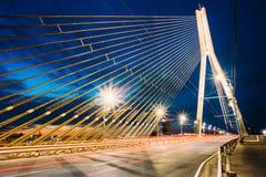 Vansu bro i Riga, Lettland Omslagsbro Kabel-bliven bro Arkivbild