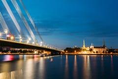 Vansu bro i Riga, Lettland Omslagsbro Kabel-bliven bro Arkivfoto
