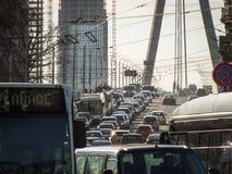 Heavy traffic across Vansu bridge in Riga stock images