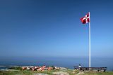 Vantage point above Gudhjem on Bornholm Royalty Free Stock Photo