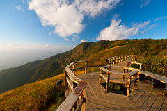Vantage point on Mount Inthanon. In northern Thai. ฺBlue sky, Chum scenic mountain Inthanon, Chiang Mai, Thailand, Kew Mae Pan Royalty Free Stock Image