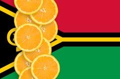 Vanuatisk vertikal rad för flagga- och citrusfruktskivor royaltyfri foto