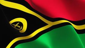 Vanuatu flag waving on wind. stock illustration