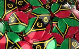 Vanuatu Badges Background - Pile of Vanuatu Flag Buttons. Stock Image