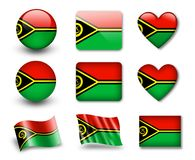 The Vanuatu flag. Set of icons and flags. glossy and matte on a white background Stock Photo