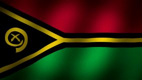 Vanuatu flag. Animated, waving flag composed by horizontal lines in red and green with a black triangle and a small graphic in yellow, thin lines in black and stock footage