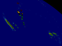 Vanuatu with flag on Earth Stock Image