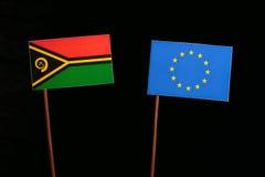 Vanuatu flag with European Union EU flag  on black Stock Images