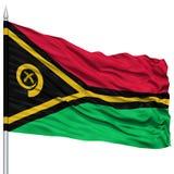 Vanuatu Flag on Flagpole Royalty Free Stock Photos