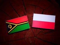 Vanuatu flag with Polish flag on a tree stump isolated. Vanuatu flag with Polish flag on a tree stump vector illustration