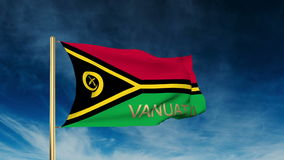 Vanuatu flag slider style with title. Waving in stock video