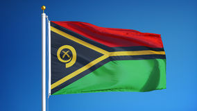 Vanuatu flag in slow motion seamlessly looped with alpha stock video footage