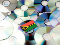 Vanuatu flag on top of CD and DVD pile isolated on white. Vanuatu flag on top of CD and DVD pile isolated Stock Images