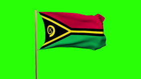 Vanuatu flag waving in the wind. Green screen. Alpha matte. Loops animation stock footage