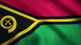 Vanuatu flag waving on wind. Vanuatu flag blowing in the wind with highly detailed fabric texture. Realistic rendering. Quality stock video footage
