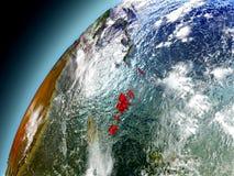 Vanuatu från omlopp av modellen Earth Fotografering för Bildbyråer