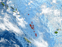Vanuatu on map with clouds Royalty Free Stock Image