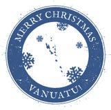 Vanuatu map. Vintage Merry Christmas Vanuatu. Royalty Free Stock Photography