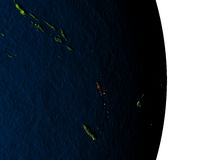 Vanuatu from space during dusk Royalty Free Stock Photo