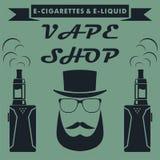 Vape商店与行家的象征设计 Vape e香烟商标 Vec 向量例证